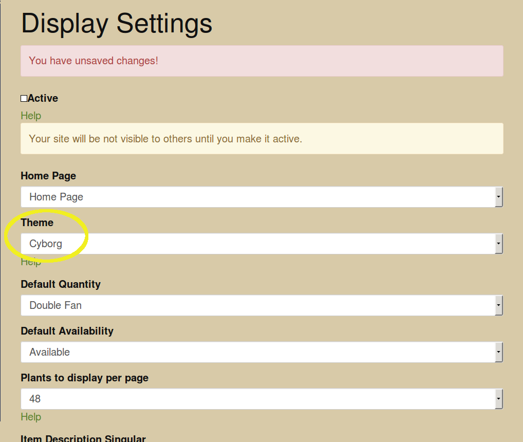 Edit Display Settings with Theme Highlighted