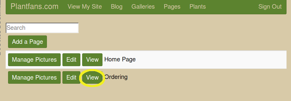 Screen listing all pages with View Ordering highlighted