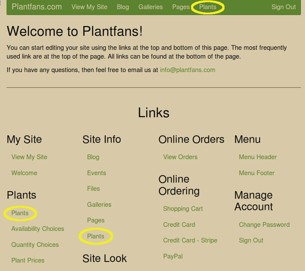 Welcome Page with Plants highlighted