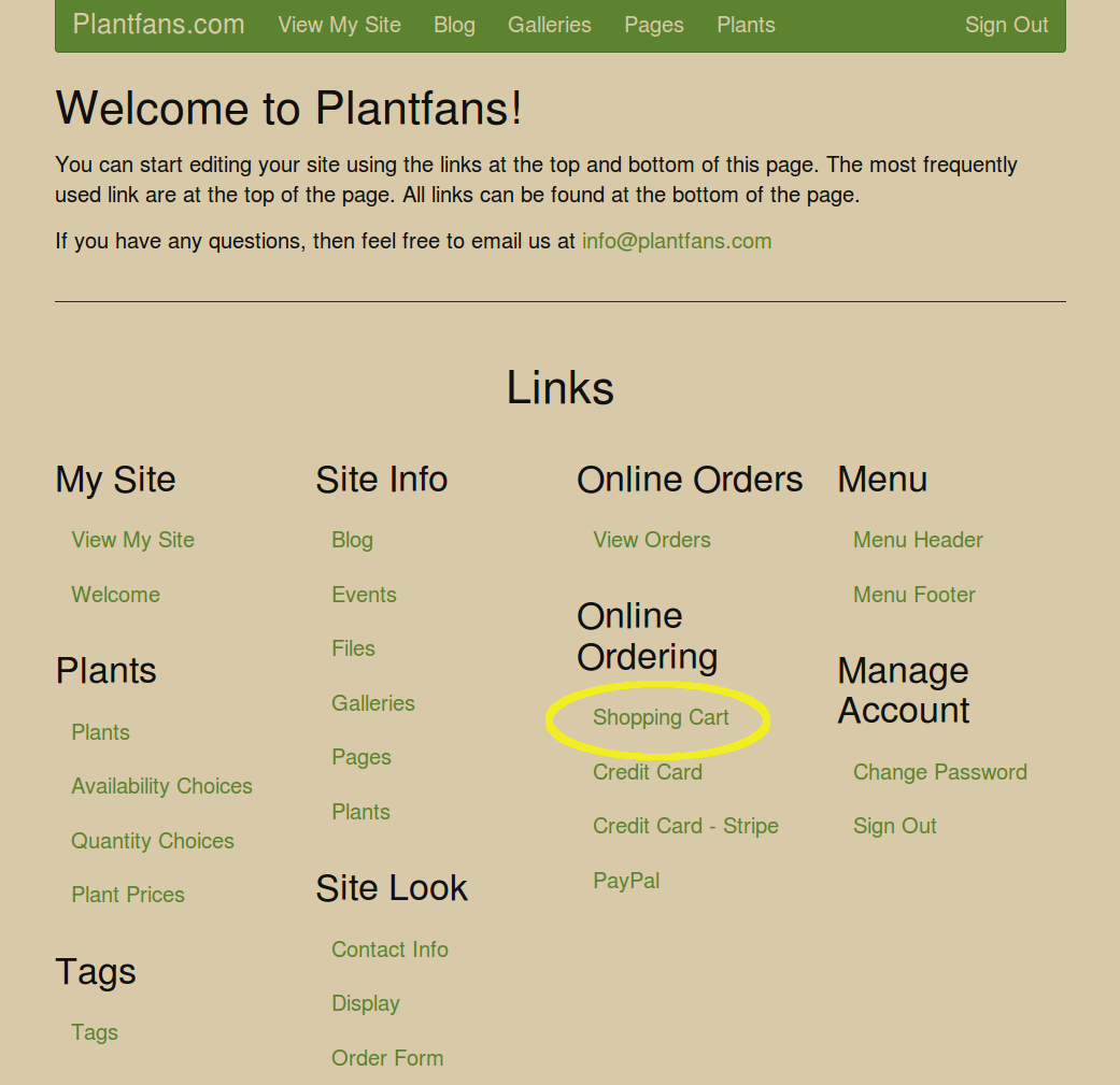 Welcome Page with Shopping Cart highlighted